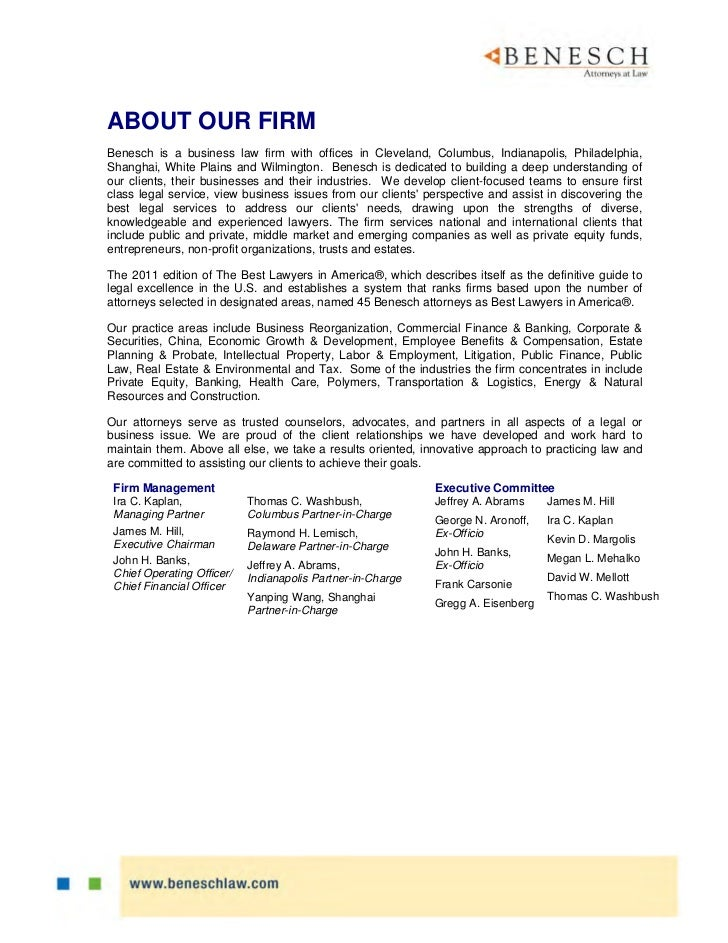 ABOUT OUR FIRMBenesch is a business law firm with offices in Cleveland, Columbus, Indianapolis, Philadelphia,Shanghai, Whi...