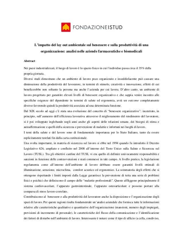 L'impatto del lay out ambientale sul benessere e sulla produttività di una              organizzazione: analisi nelle azie...