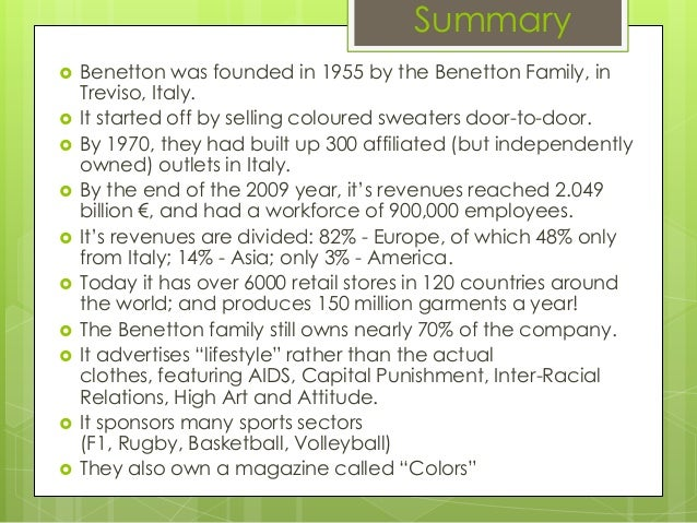 benetton case study analysis Analysis of case study is certainly one of the most popular methods for people from business management background - benetton, in contrast, chooses at supply chain minded we are always excited to meet professionals who are interested in writing supply chain related articles.