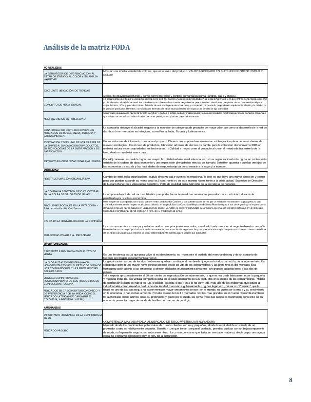 8 Análisis de la matriz FODA FORTALEZAS LA ESTRATEGIA DE DIFERENCIACION AL ESTAR ORIENTADO AL COLOR Y SU AMPLIA VARIEDAD M...