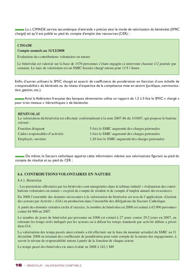 La « CIMADE service oecuménique d'entraide » précise ainsi le mode de valorisation du bénévolat (SMIC  chargé) tel qu'il e...