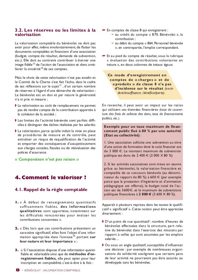 3.2. Les réserves ou les limites à la  valorisation  La valorisation comptable du bénévolat ne doit pas  avoir pour effet,...