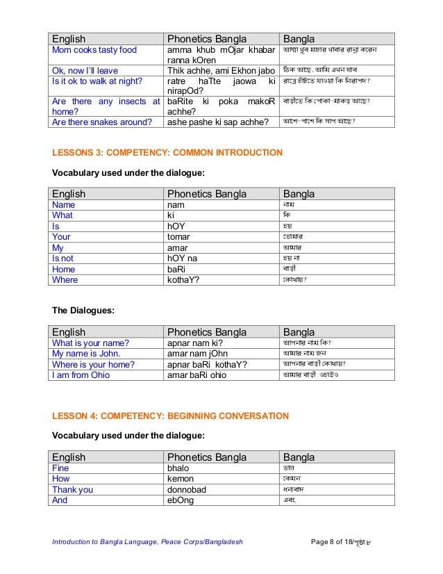 Basic Bengali Language Course