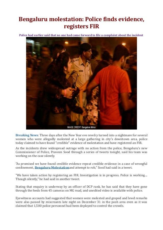 Bengaluru molestation police finds evidence, registers fir