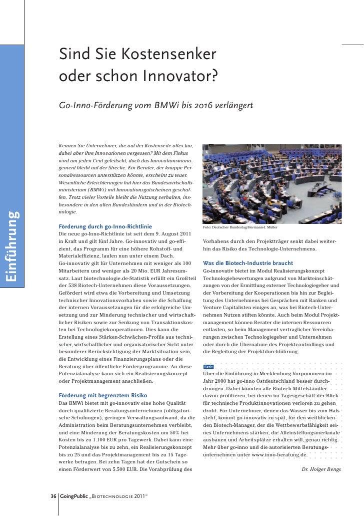 Sind Sie Kostensenker               oder schon Innovator?               Go-Inno-Förderung vom BMWi bis 2016 verlängert    ...