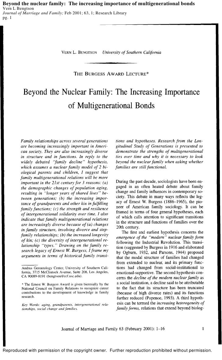 Beyond the nuclear family: The increasing importance of multigenerational bonds Vern L Bengtson Journal of Marriage and Fa...