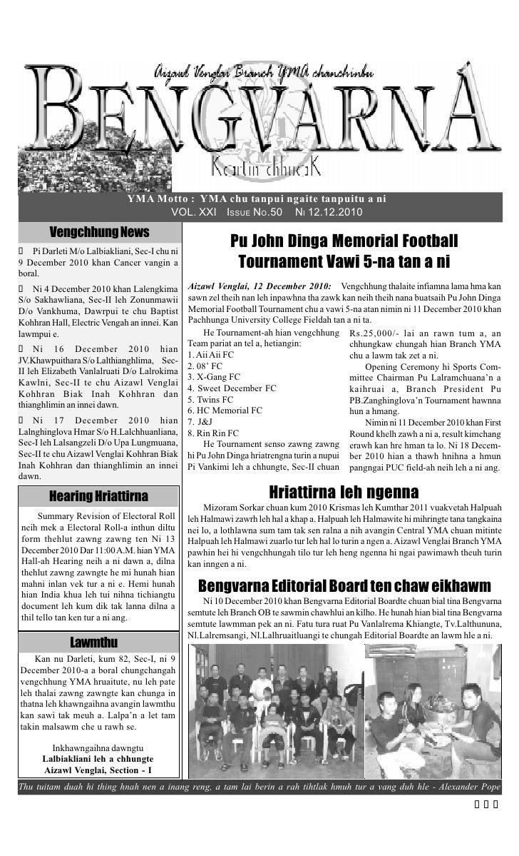 YMA Motto : YMA chu tanpui ngaite tanpuitu a ni                                    VOL. XXI ISSUE NO.50 NI 12.12.2010     ...