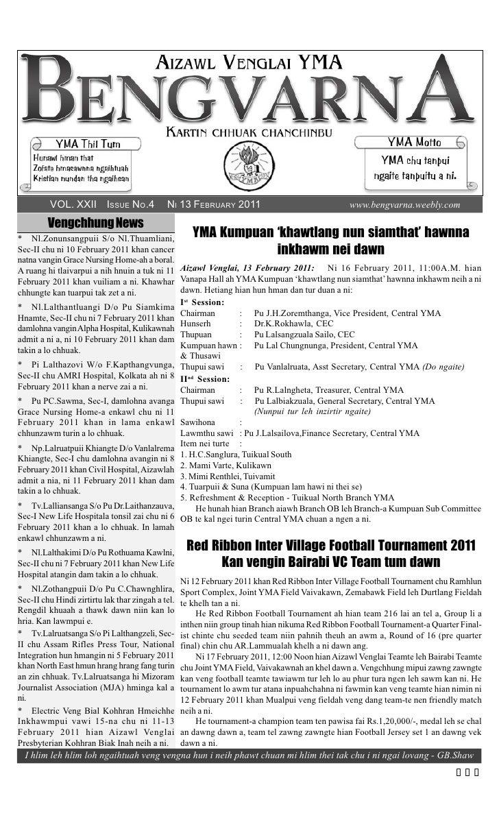 VOL. XXII ISSUE NO.4                NI 13 FEBRUARY 2011                                 www.bengvarna.weebly.com         V...
