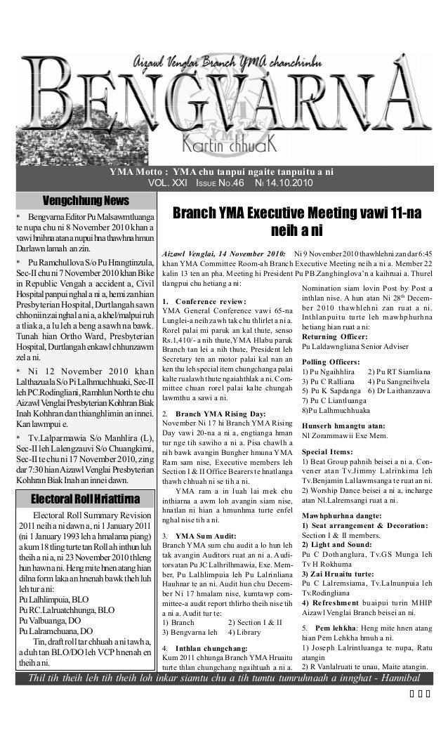 YMA Motto : YMA chu tanpui ngaite tanpuitu a ni VOL. XXI ISSUE NO.46 NI 14.10.2010 VengchhungNews * BengvarnaEditorPuMalsa...