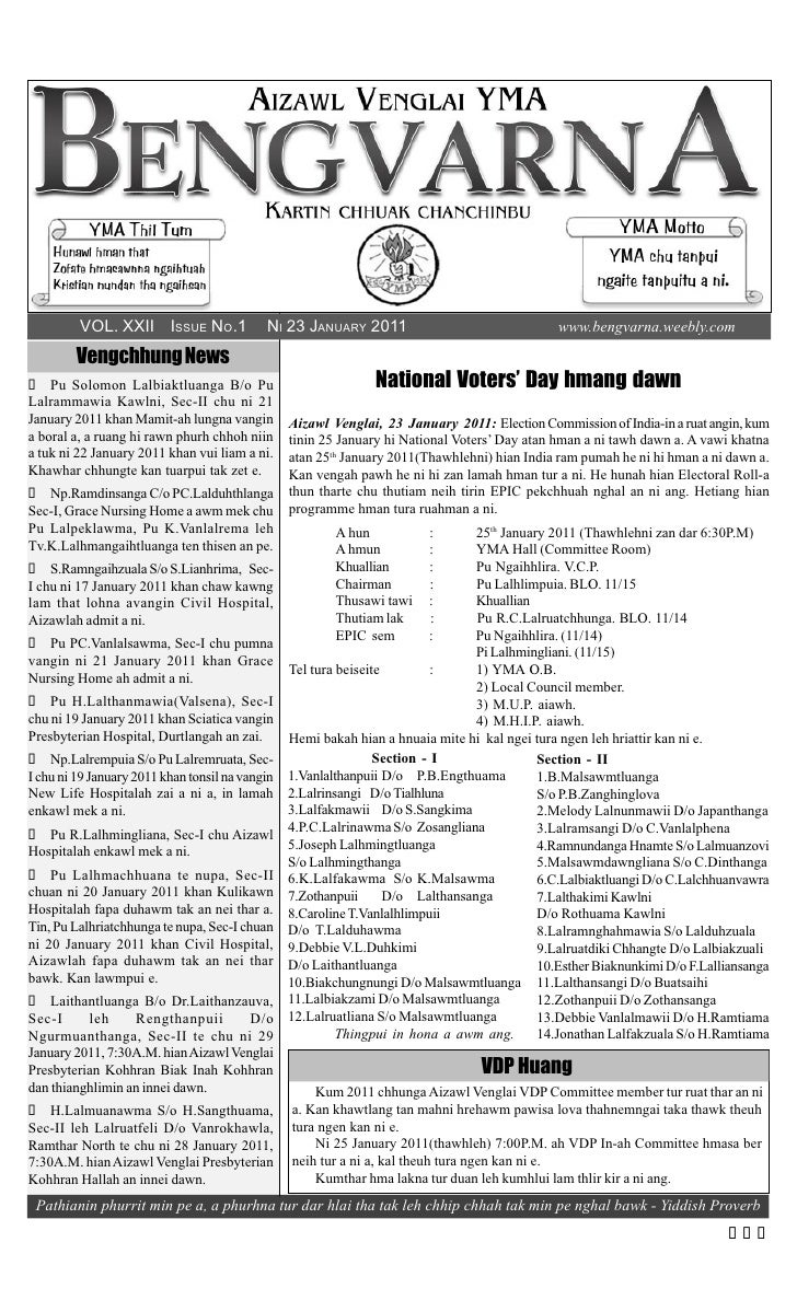 VOL. XXII ISSUE NO.1               NI 23 JANUARY 2011                                 www.bengvarna.weebly.com         Ven...