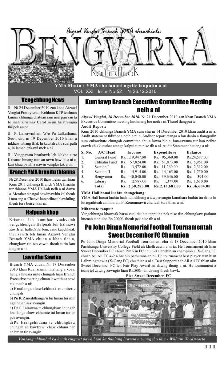 YMA Motto : YMA chu tanpui ngaite tanpuitu a ni                                   VOL. XXI ISSUE NO.52 NI 26.12.2010      ...