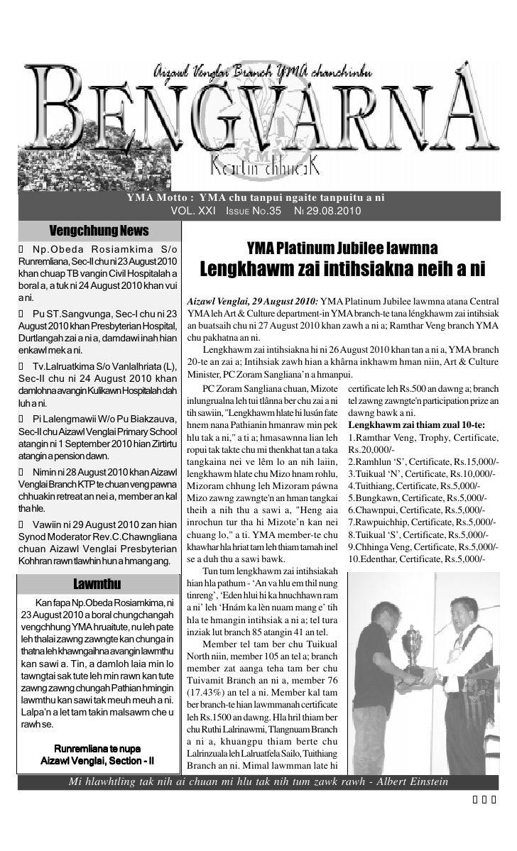 YMA Motto : YMA chu tanpui ngaite tanpuitu a ni                                    VOL. XXI ISSUE NO.35 NI 29.08.2010     ...