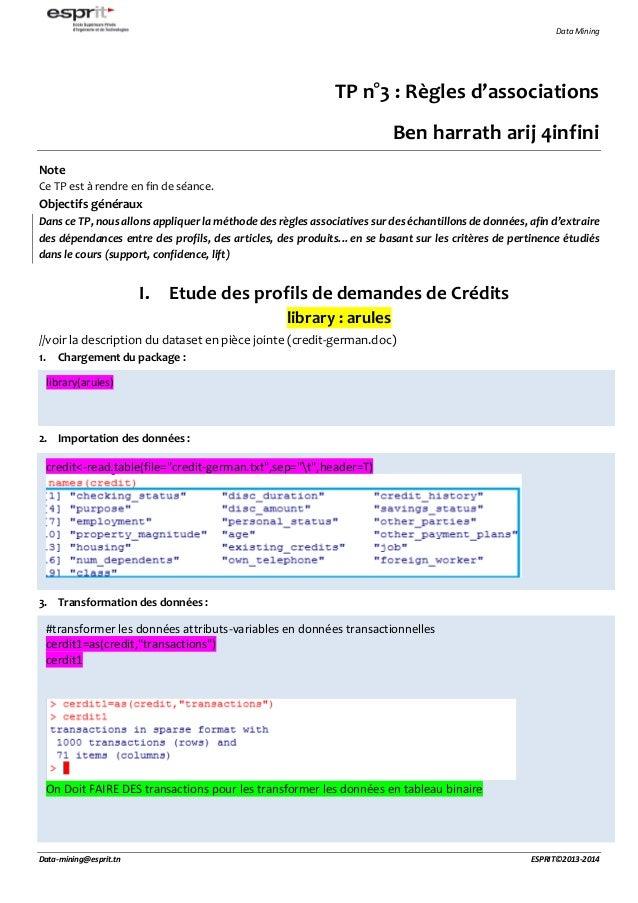 Data Mining Data-mining@esprit.tn ESPRIT©2013-2014 TP n°3 : Règles d'associations Ben harrath arij 4infini Note Ce TP est ...