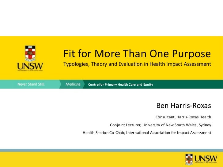 Fit for More Than One PurposeTypologies, Theory and Evaluation in Health Impact Assessment          Centre for Primary Hea...