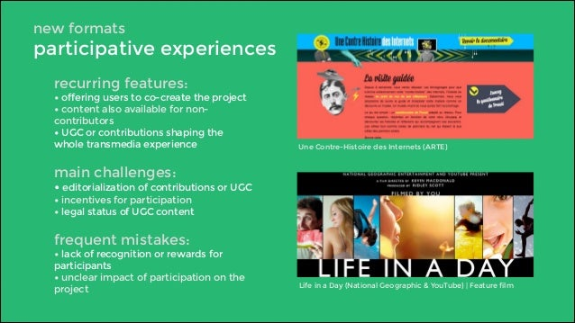 new formats  participative experiences  recurring features:  • offering users to co-create the project  • content also ava...