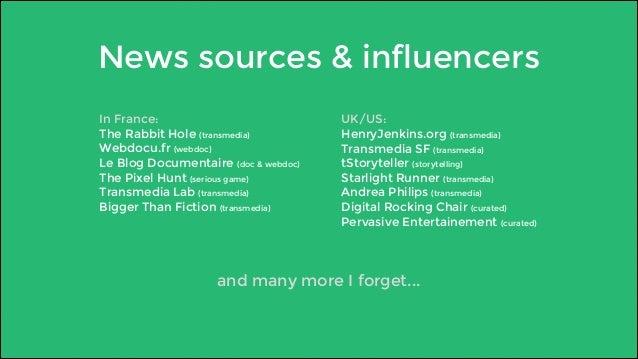 News sources & influencers  In France:  The Rabbit Hole (transmedia)  Webdocu.fr (webdoc)  Le Blog Documentaire (doc & web...