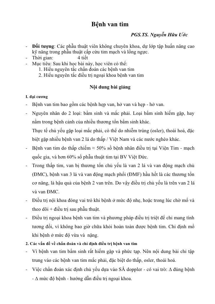 Bệnh van tim                                                        PGS.TS. Nguyễn Hữu Ước- Đối tượng: Các phẫu thuật viên...