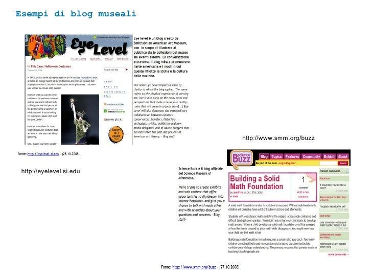 Esempi di blog museali http://eyelevel.si.edu http://www.smm.org/buzz