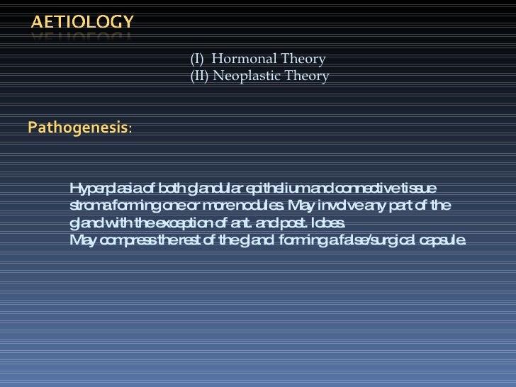 <ul><ul><li>(I)  Hormonal Theory </li></ul></ul><ul><ul><li>(II) Neoplastic Theory </li></ul></ul>Pathogenesis : Hyperplas...
