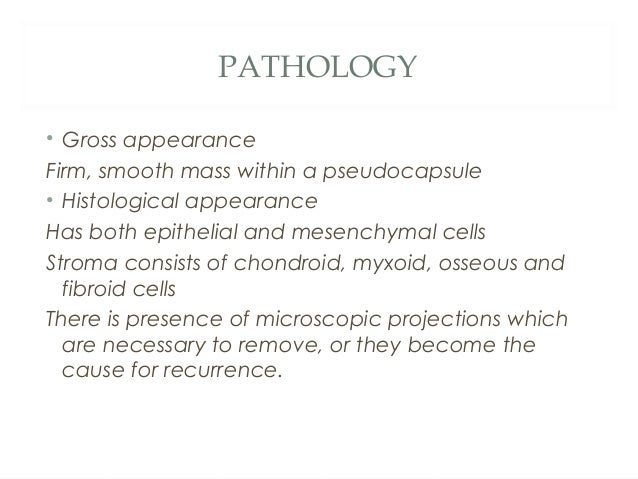 PATHOLOGY • Gross appearance Firm, smooth mass within a pseudocapsule • Histological appearance Has both epithelial and me...