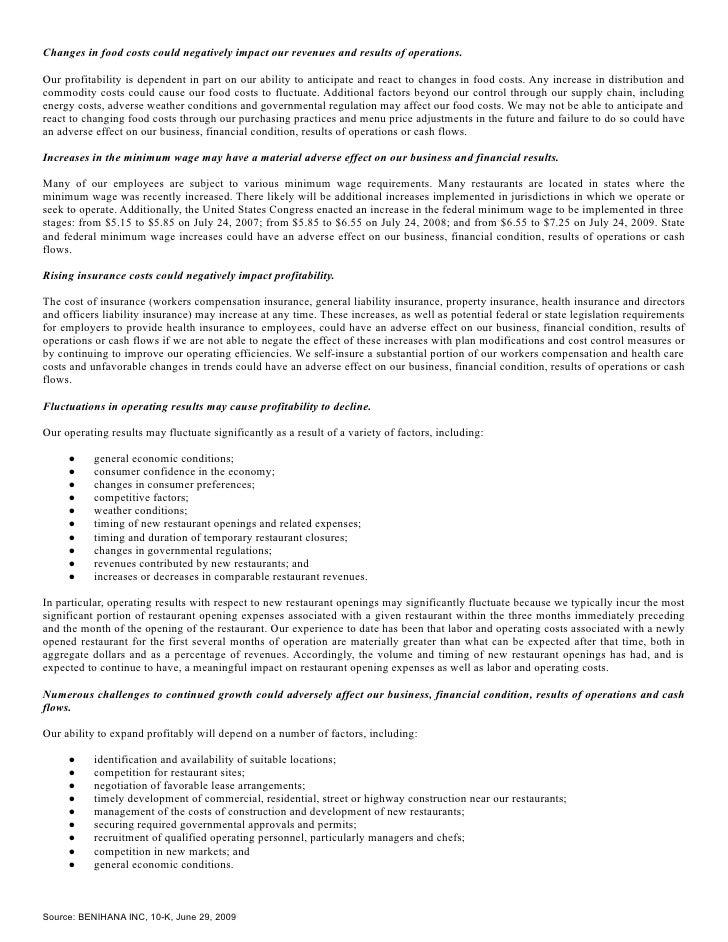 Q2 2009 Earning Report of Benihana Inc – Unit 1 Chemistry for Life Metric Conversion Worksheet Answers