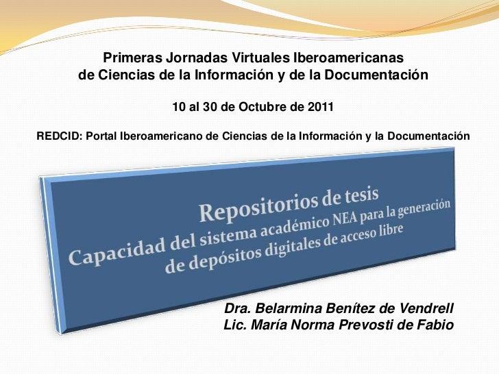 Primeras Jornadas Virtuales Iberoamericanas       de Ciencias de la Información y de la Documentación                     ...