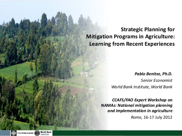 Strategic Planning for Mitigation Programs in Agriculture: Learning from Recent Experiences  Pablo Benitez, Ph.D.  Senior ...