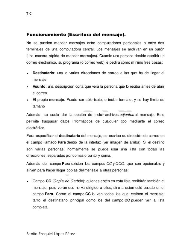 TIC. Benito Ezequiel López Pérez. Funcionamiento (Escritura del mensaje). No se pueden mandar mensajes entre computadores ...