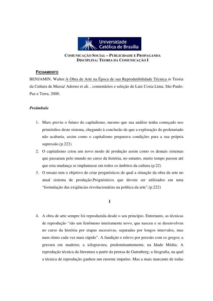 COMUNICAÇÃO SOCIAL – PUBLICIDADE E PROPAGANDA                          DISCIPLINA: TEORIA DA COMUNICAÇÃO I     FICHAMENTO ...