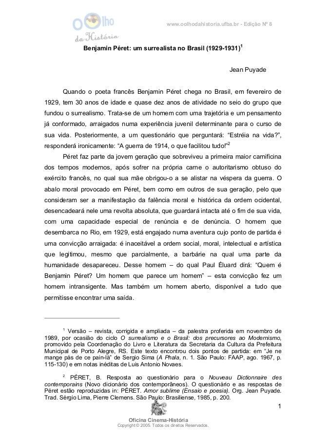 www.oolhodahistoria.ufba.br - Edição Nº 8 Oficina Cinema-História Copyright © 2005. Todos os direitos Reservados. 1 Benjam...