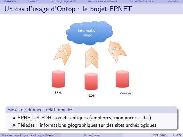 Benjamin Cogrel, Accès aux données à un niveau conceptuel avec Ontop Slide 2