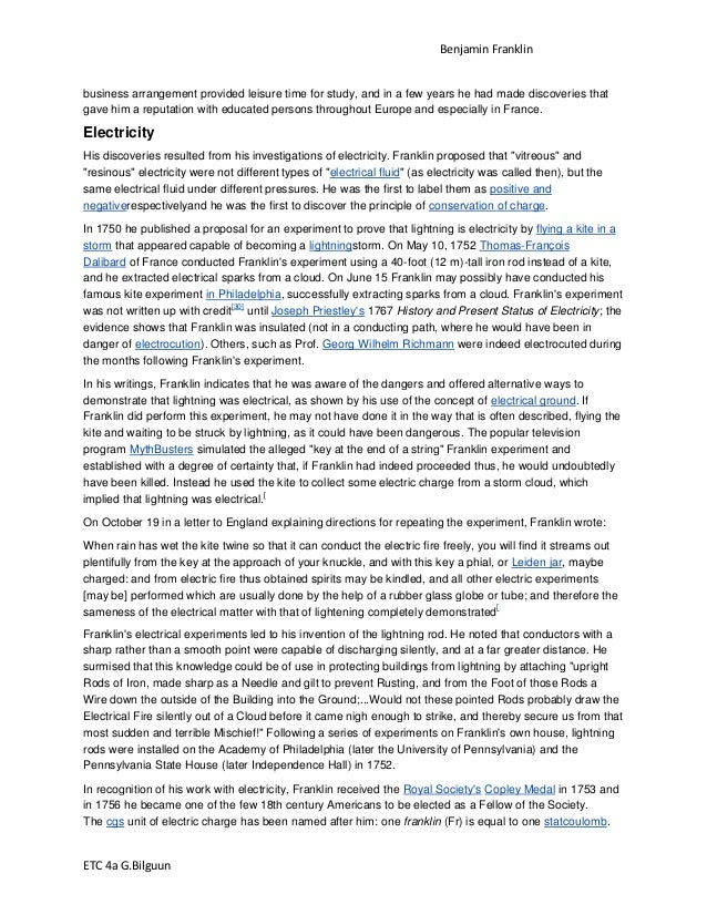 Benjamin franklin research paper