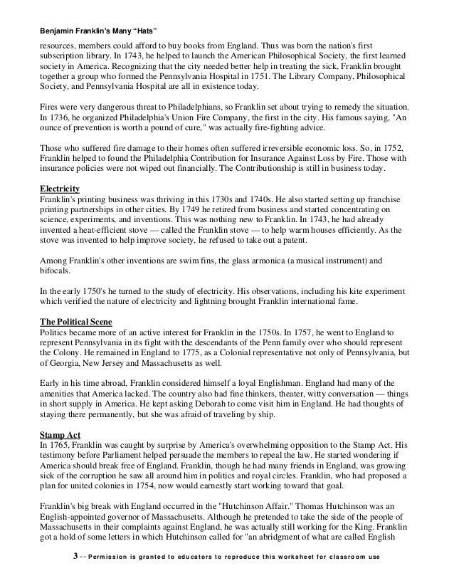 Benjamin franklins Biography – Ben Franklin Worksheets