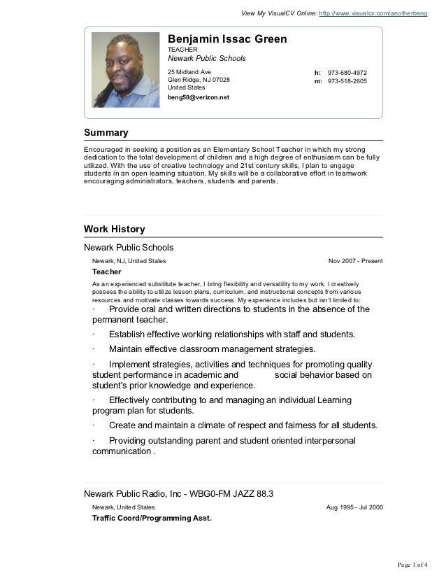 View My VisualCV Online: http://www.visualcv.com/anotherbeng                              Benjamin Issac Green            ...