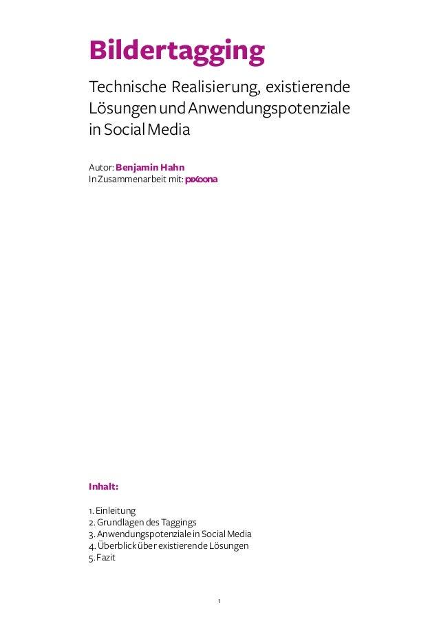 1 Bildertagging Technische Realisierung, existierende LösungenundAnwendungspotenziale inSocialMedia Autor:Benjamin Hahn In...