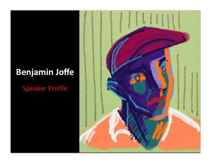 Benjamin Joffe   Speaker Profile