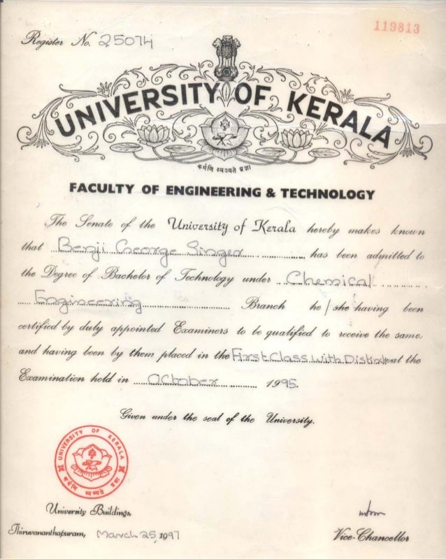B.Tech Degree in Chemical Engineering