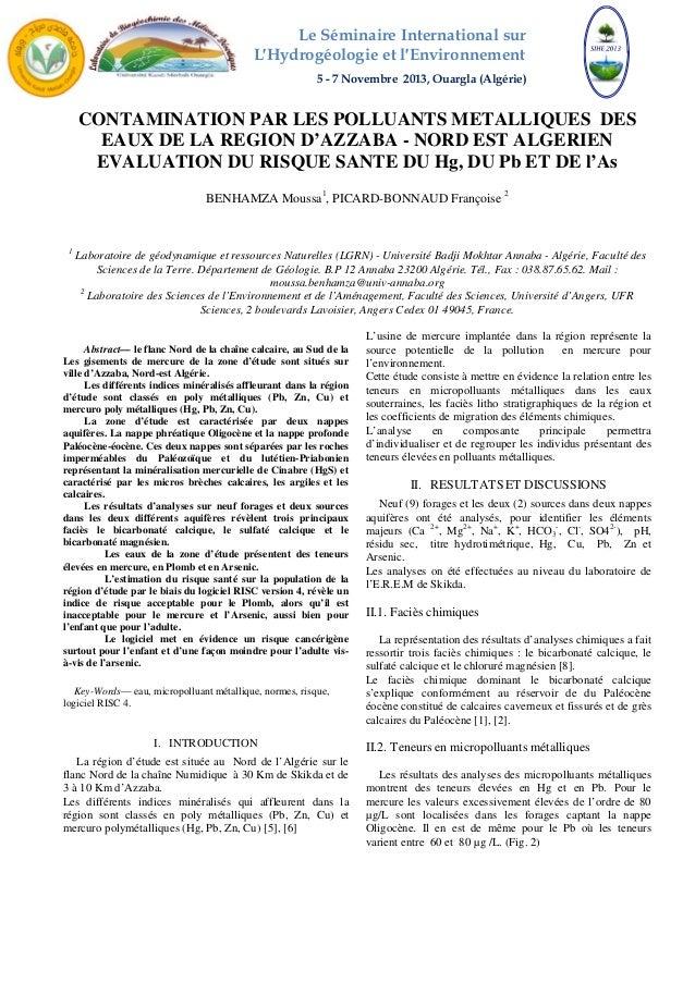 Le Séminaire International sur  L′Hydrogéologie et l′Environnement  5 - 7 Novembre 2013, Ouargla (Algérie)  CONTAMINATION ...