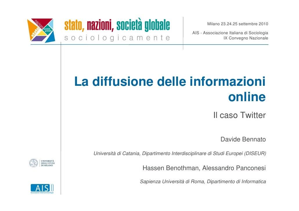Milano 23.24.25 settembre 2010                                                  AIS - Associazione Italiana di Sociologia ...