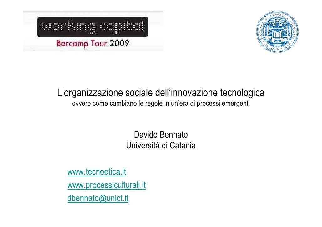 L'organizzazione sociale dell'innovazione tecnologica    ovvero come cambiano le regole in un'era di processi emergenti   ...