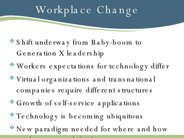 Workplace Change <ul><li>Shift underway from Baby-boom to Generation X leadership </li></ul><ul><li>Workers expectations f...