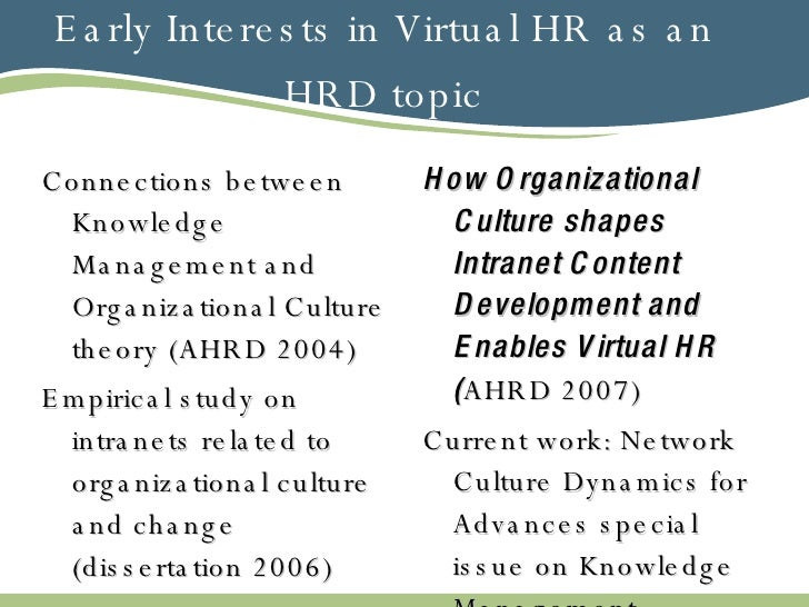 Early Interests in Virtual HR as an HRD topic <ul><li>Connections between Knowledge Management and Organizational Culture ...