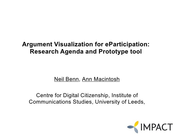 Argument Visualization for eParticipation: Research Agenda and Prototype tool   Neil Benn ,  Ann Macintosh Centre for Digi...