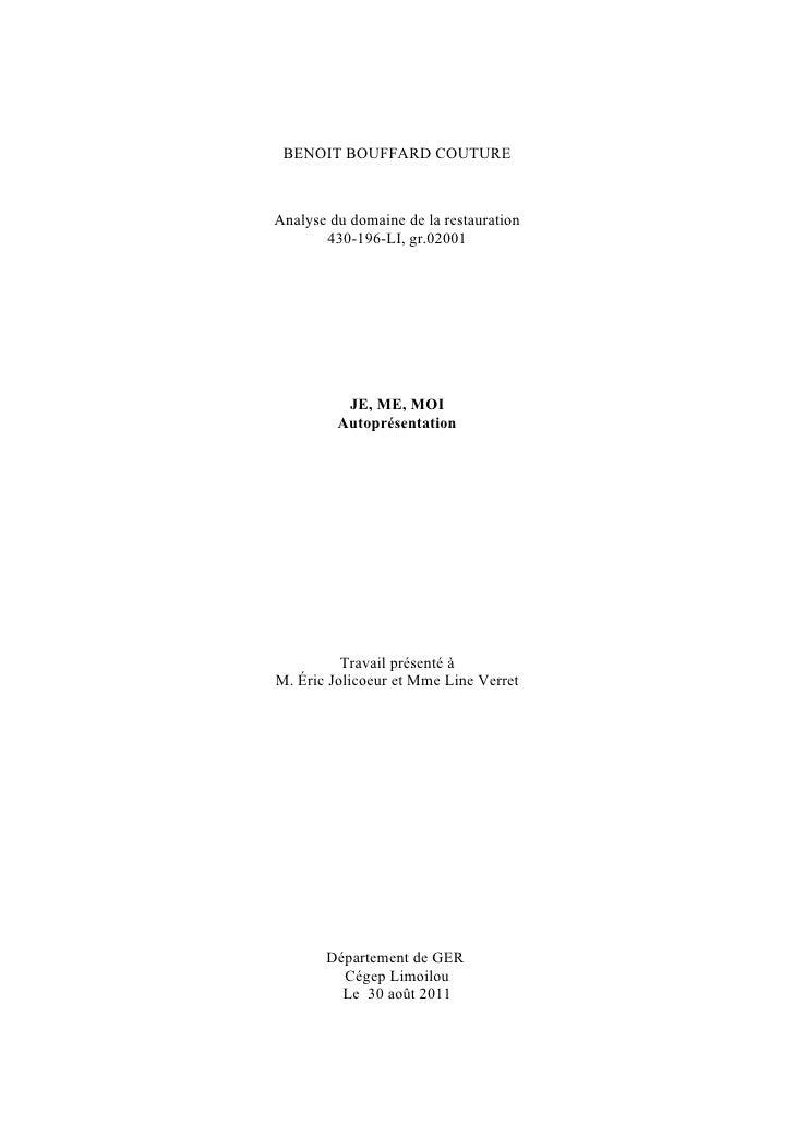BENOIT BOUFFARD COUTUREAnalyse du domaine de la restauration       430-196-LI, gr.02001          JE, ME, MOI         Autop...