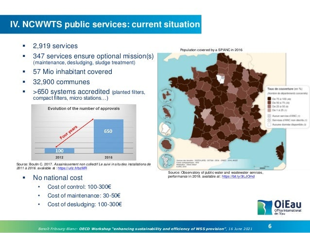 """6 Benoît Fribourg-Blanc– OECD Workshop """"enhancing sustainability and efficiency of WSS provision"""", 16 June 2021 IV. NCWWTS..."""