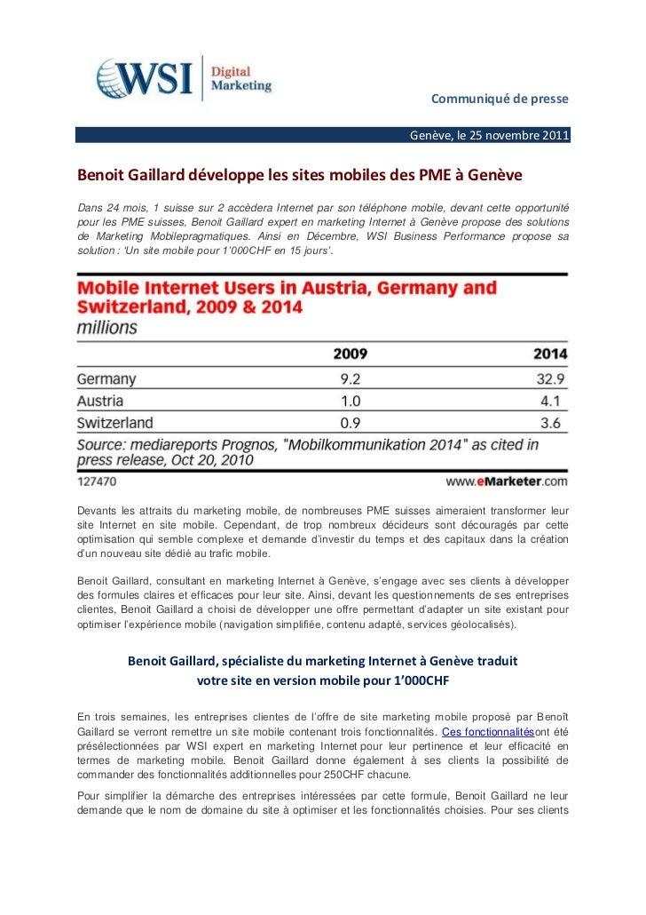 Communiqué de presse                                                                     Genève, le 25 novembre 2011Benoit...