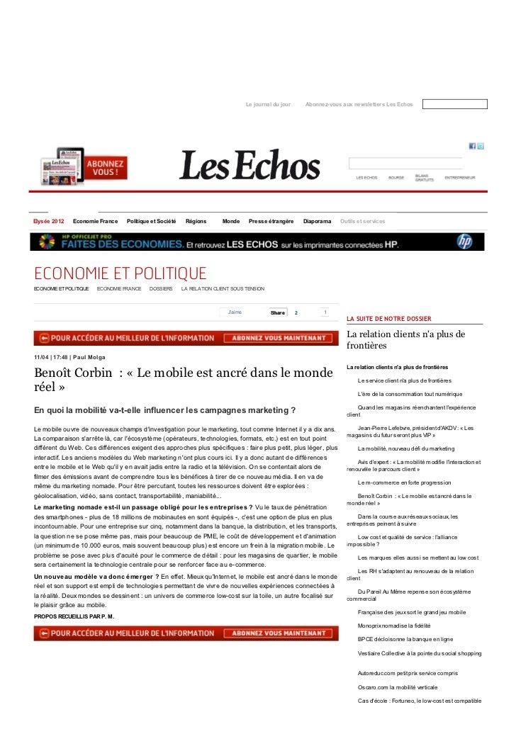 Le journal du jour       Abonnez-vous aux newsletters Les EchosElysée 2012   Economie France     Politique et Société    R...