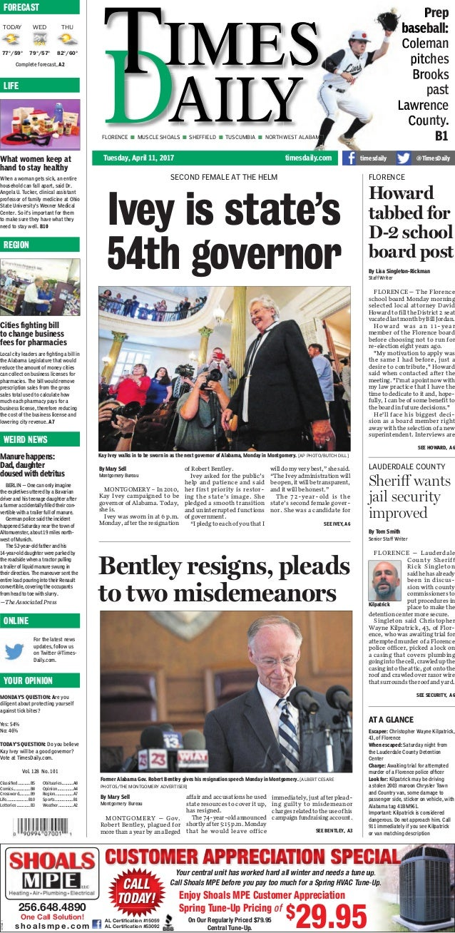 Bentley out, Ivey in - newspaper front pages