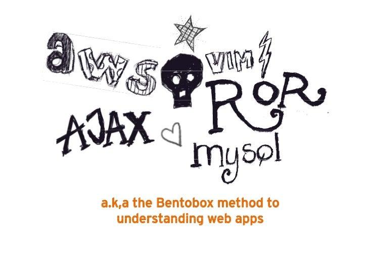 a.k,a the Bentobox method to   understanding web apps