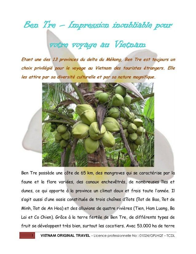 Ben Tre – Impression inoubliable pour votre voyage au Vietnam Etant une des 13 provinces du delta du Mékong, Ben Tre est t...